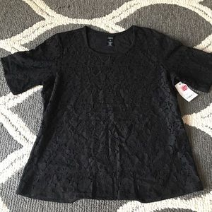 City Streets NWT Black Lace Top PS